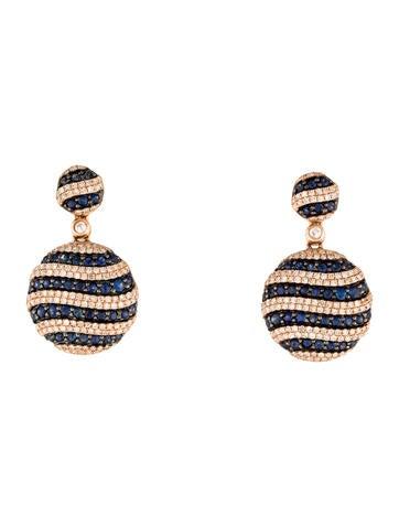 14K Sapphire & Diamond Round Drop Earrings