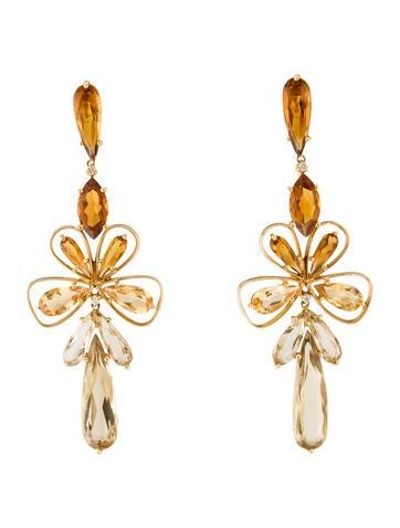 18K Citrine, Quartz & Diamond Floral Earrings