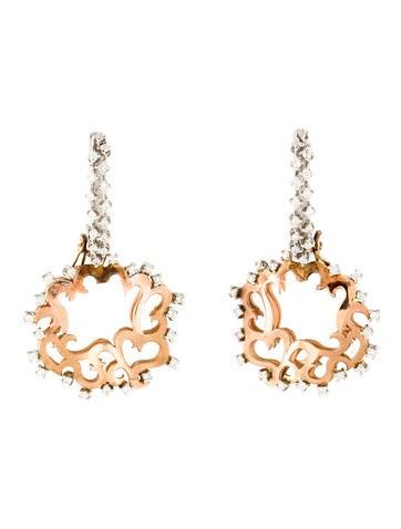 Earrings Tri-Tone Diamond Drop Earrings