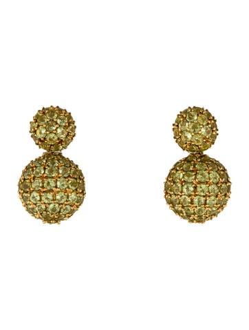18K Prasiolite Ball Drop Earrings