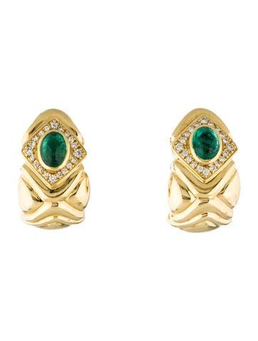 18K Emerald & Diamond Ear Clip Earrings
