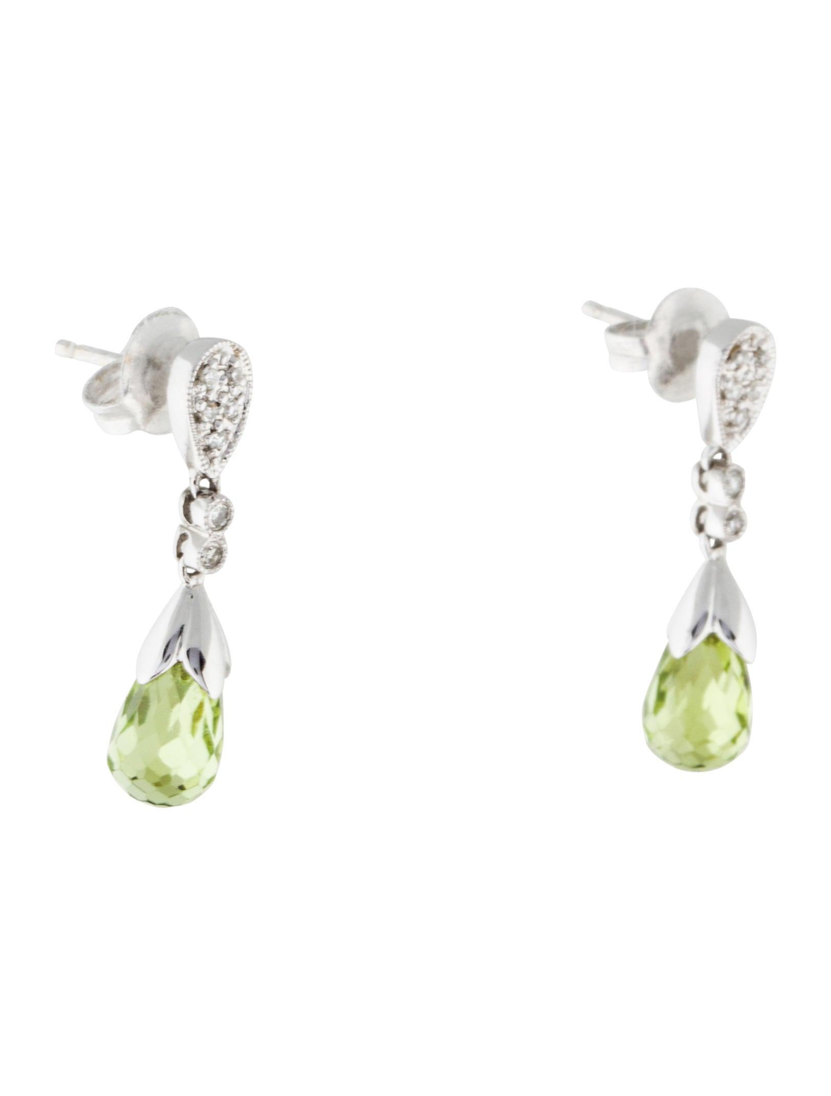 14K Diamond & Peridot Drop Earrings - 61.7KB