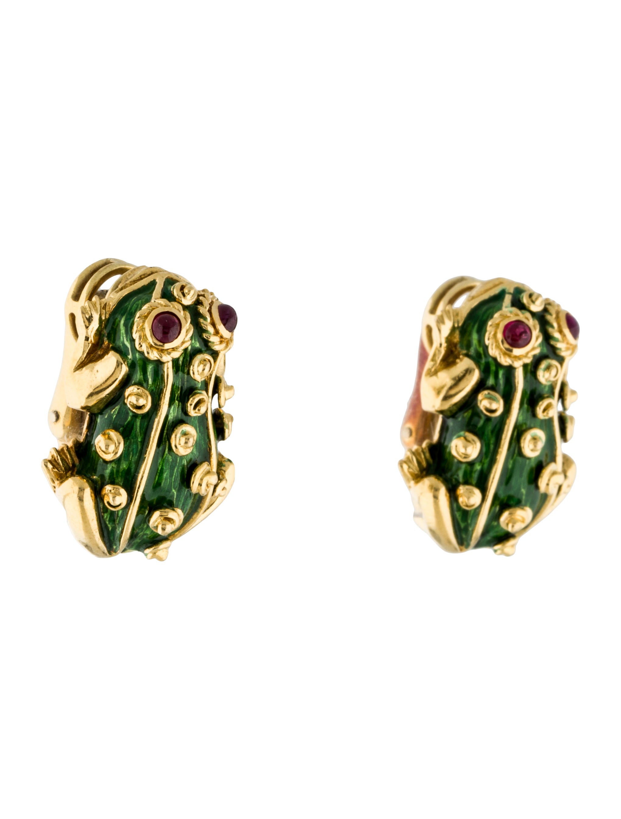 14k enamelled ruby frog earrings earrings earri31091