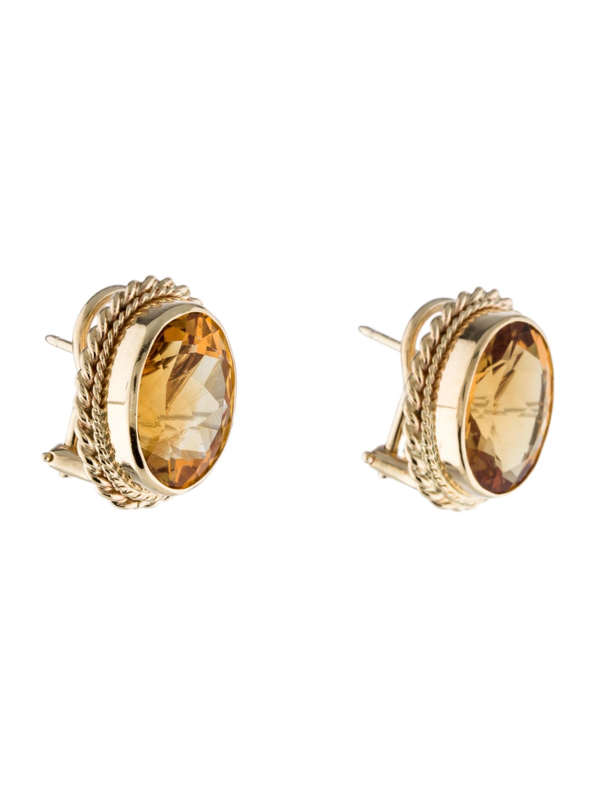 14k citrine clip on earrings earrings earri31278 the