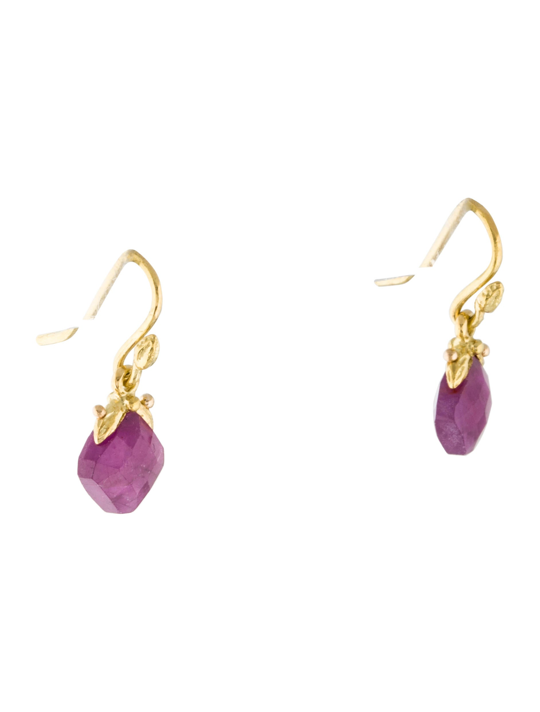 18k pink sapphire drop earrings earrings earri31418
