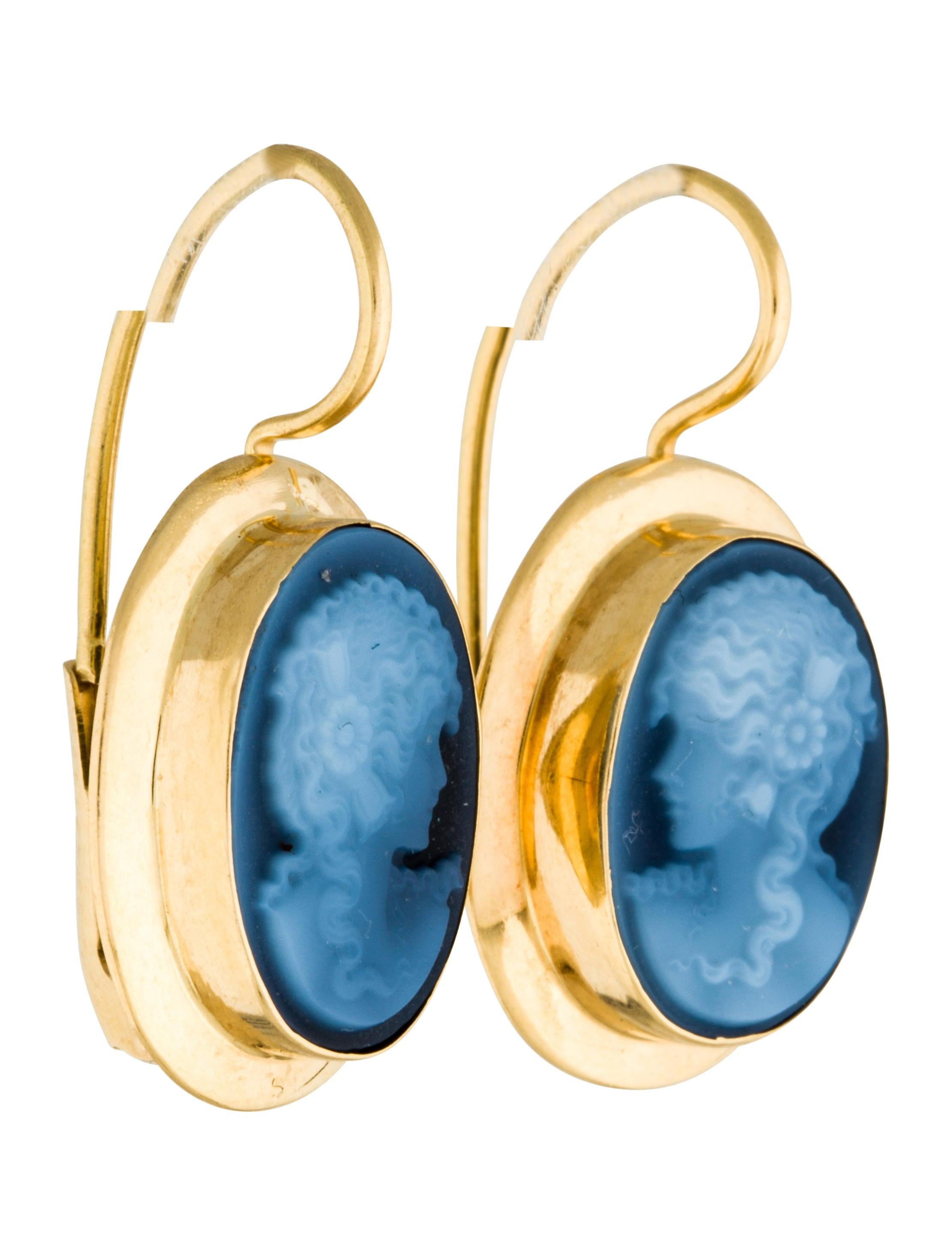 18k agate cameo drop earrings earrings earri32387