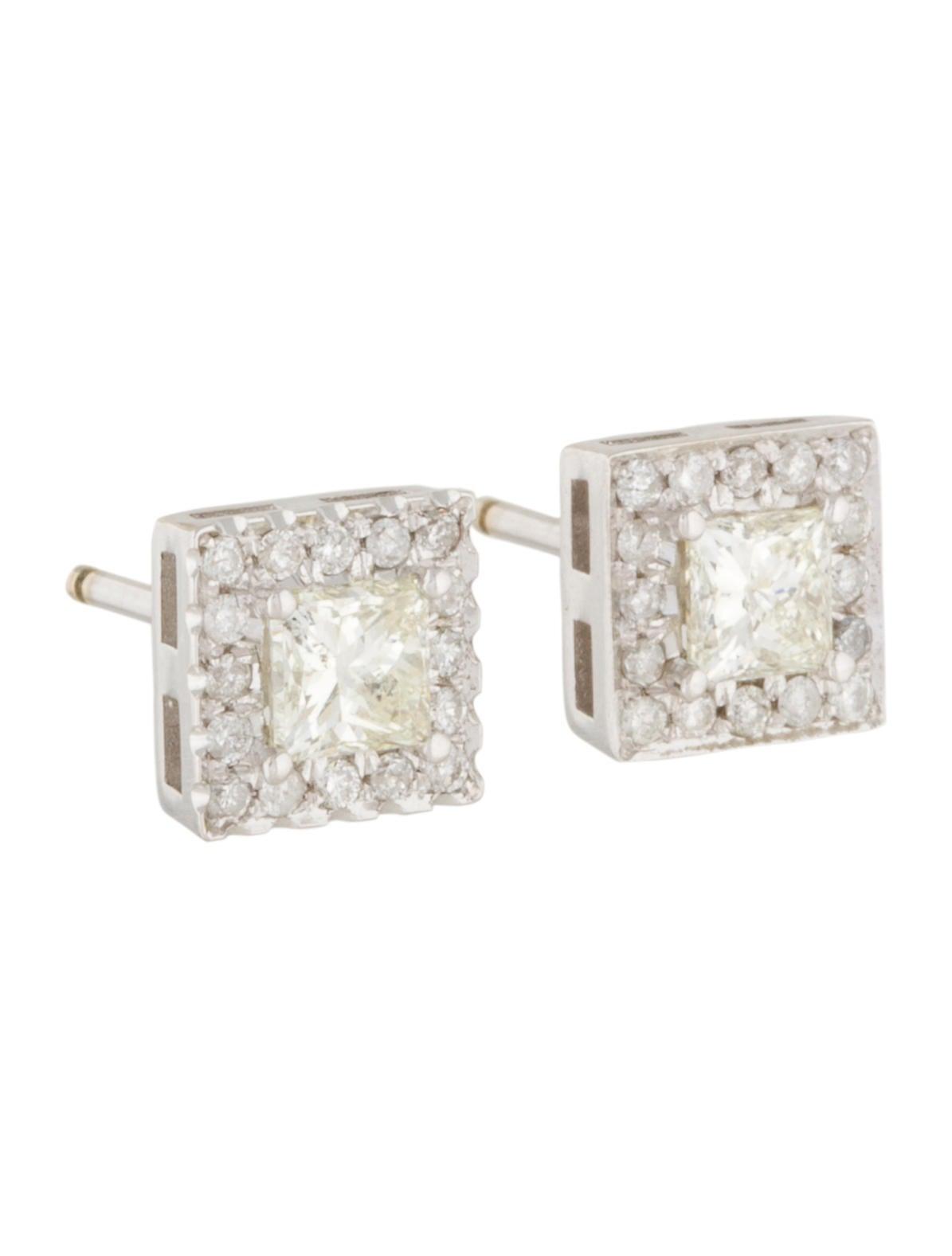 14k princess cut diamond square stud earrings earrings. Black Bedroom Furniture Sets. Home Design Ideas