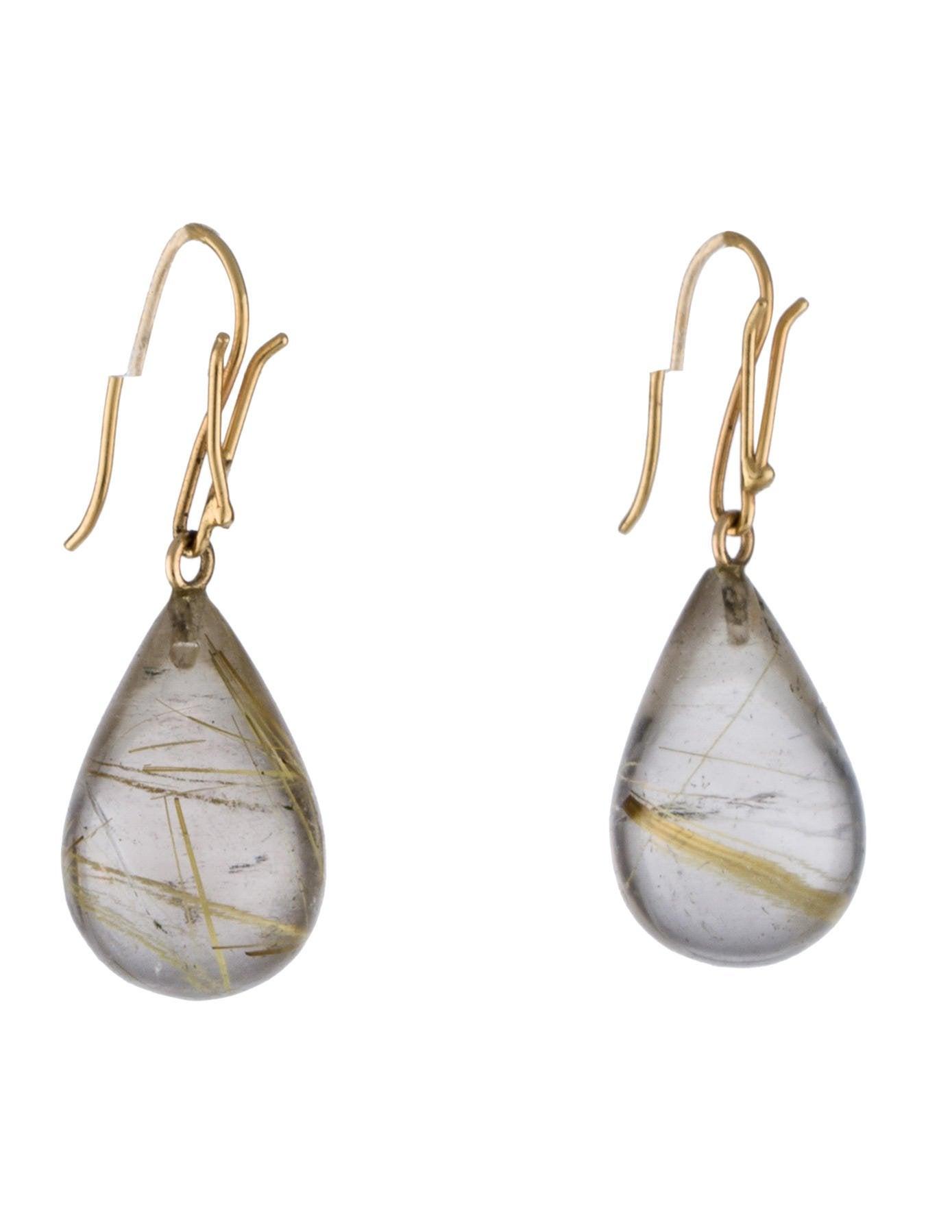 Rutilated Quartz Drop Earrings Earrings Earri32979