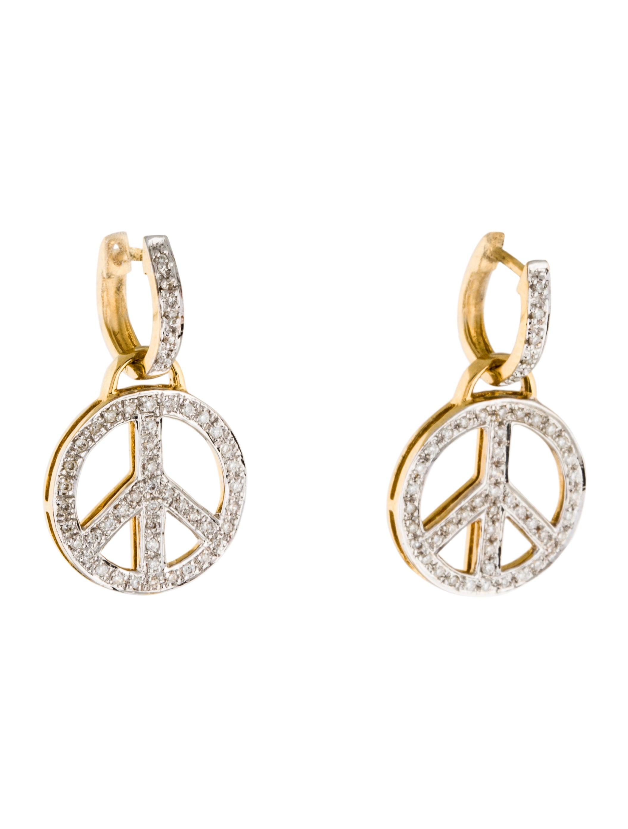 18k diamond peace sign drop earrings earrings