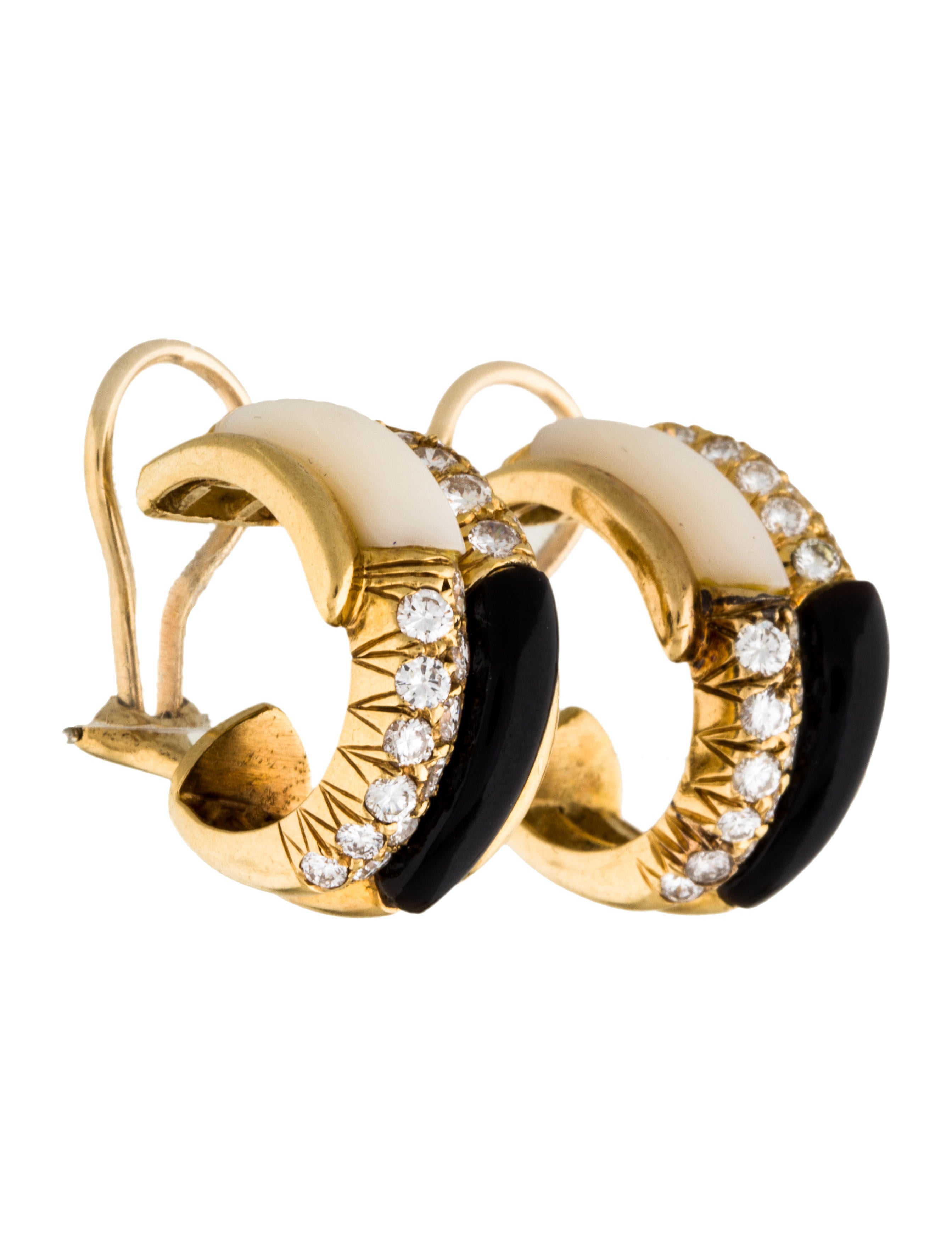 18k mother of pearl diamond onyx clip on earring. Black Bedroom Furniture Sets. Home Design Ideas