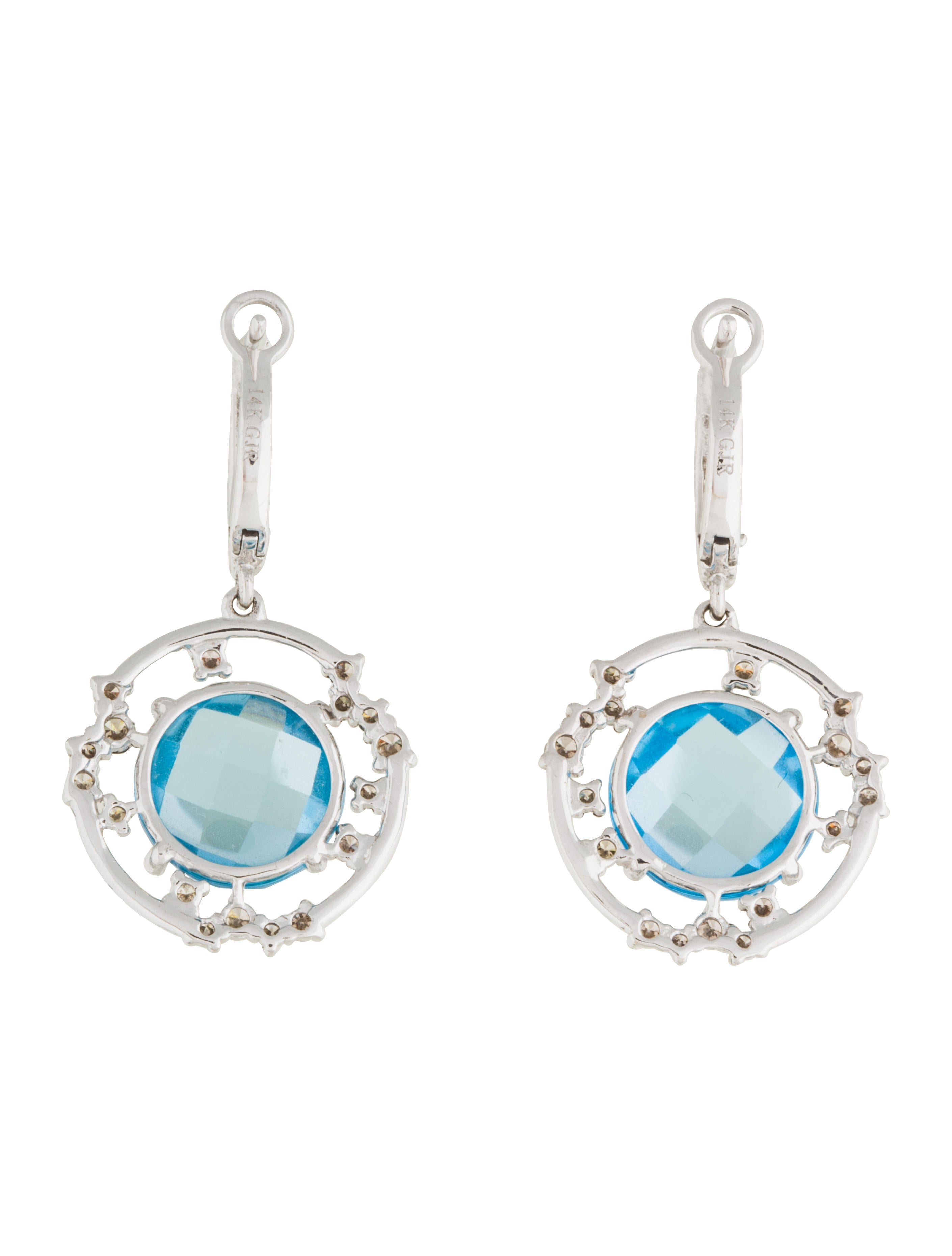 14k blue topaz drop earrings earrings