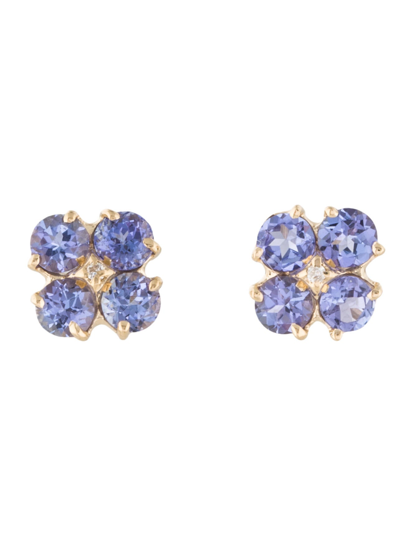 14K Diamond amp Tanzanite Clover Stud Earrings Earrings  : EARRI334781enlarged from www.therealreal.com size 1327 x 1750 jpeg 72kB