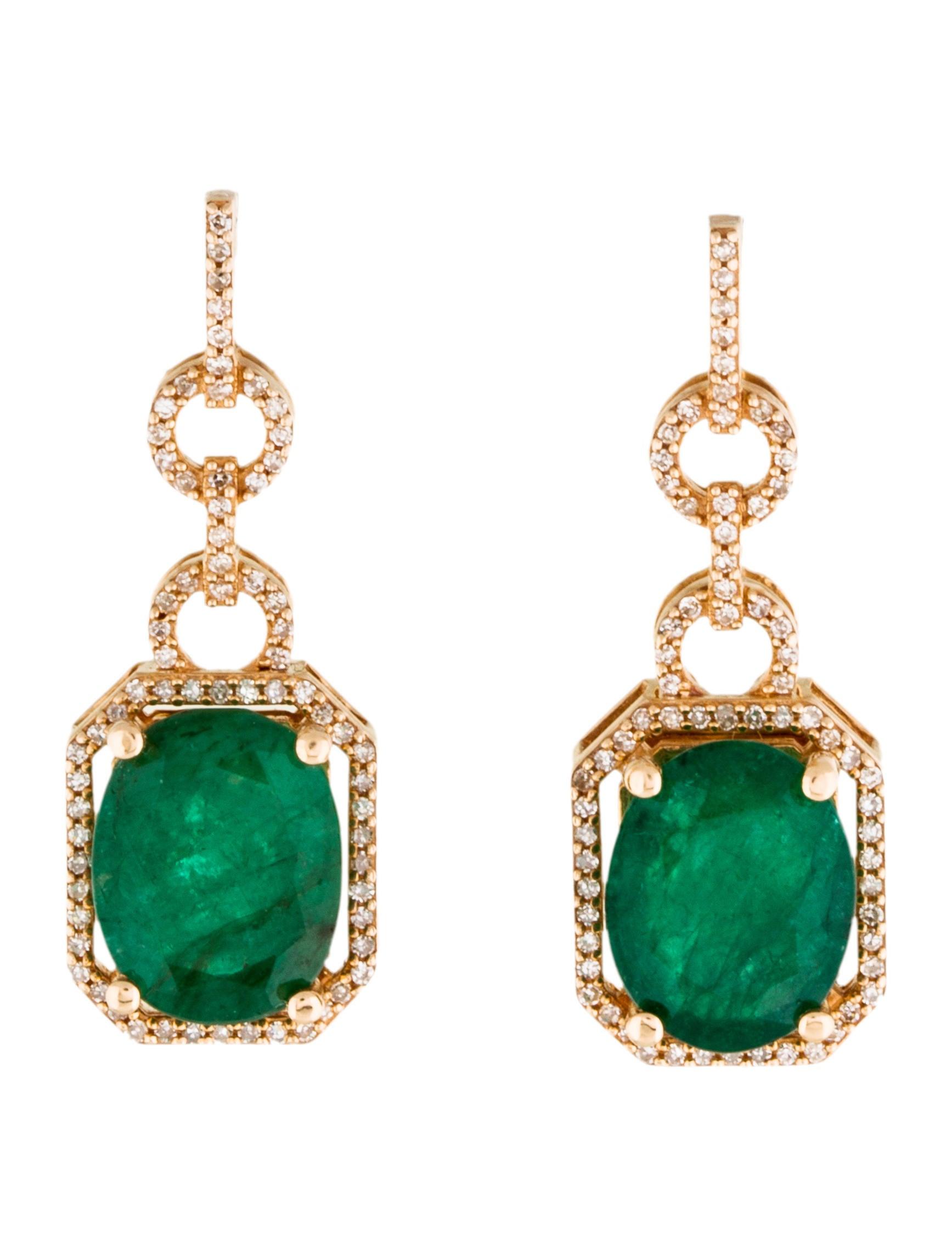 14k emerald diamond drop earrings earrings. Black Bedroom Furniture Sets. Home Design Ideas