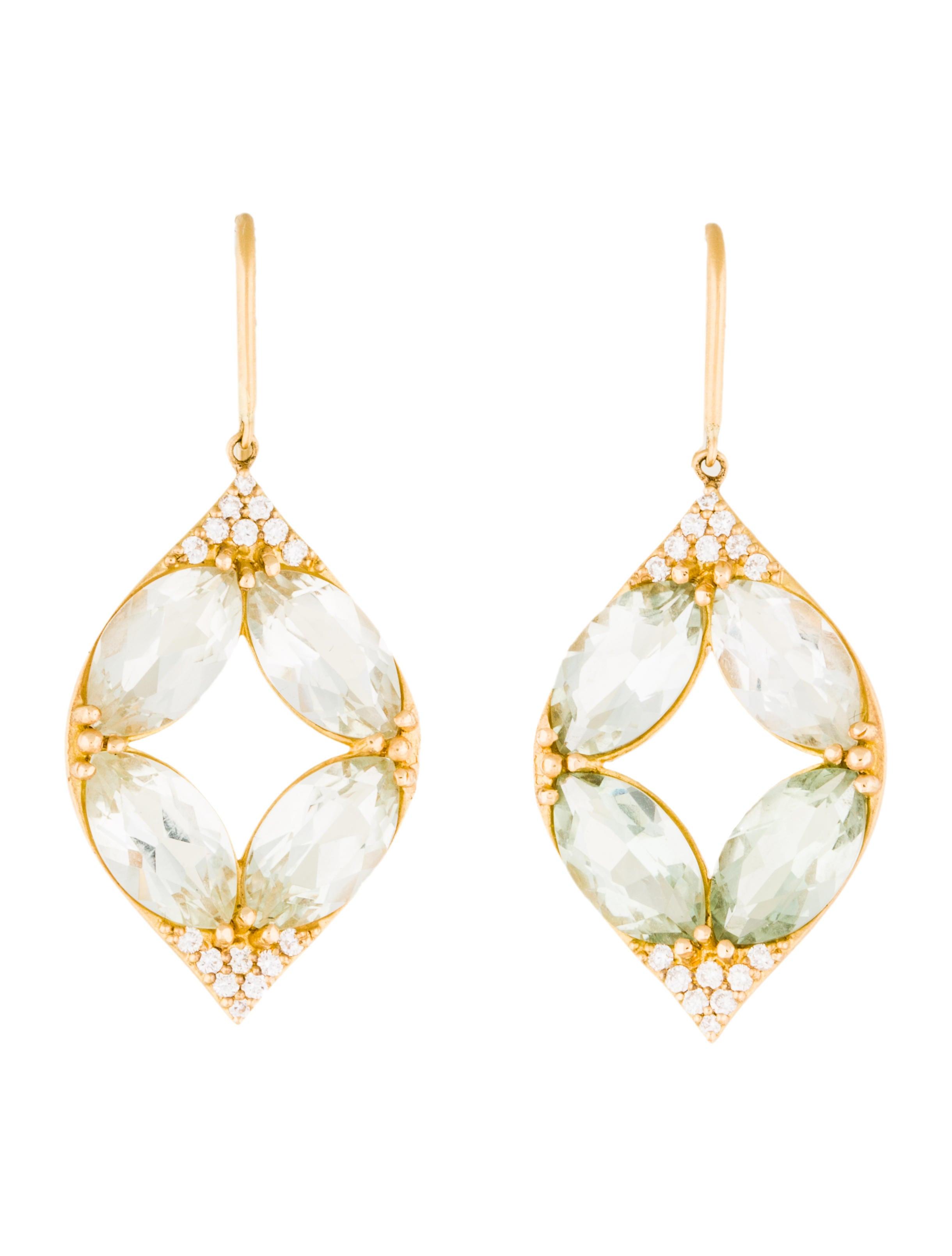 18k prasiolite drop earrings earrings