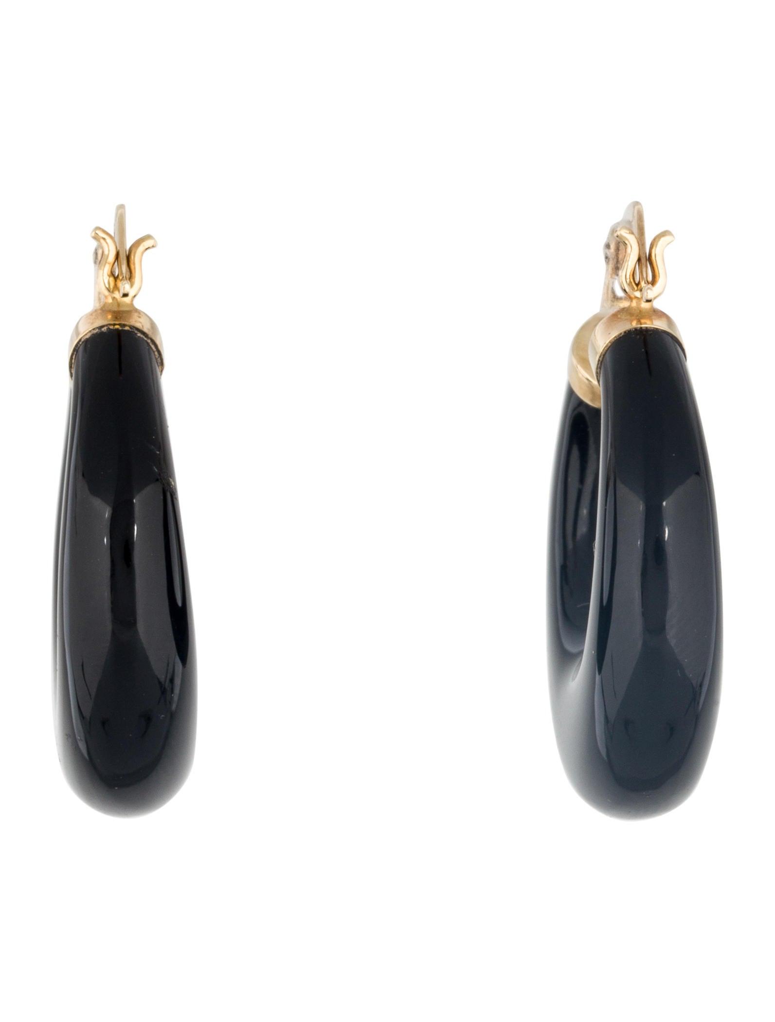 14k black onyx hoop earrings earrings earri34348 the
