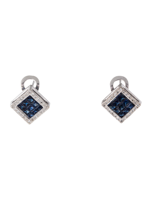 14k sapphire amp diamond square earrings earrings