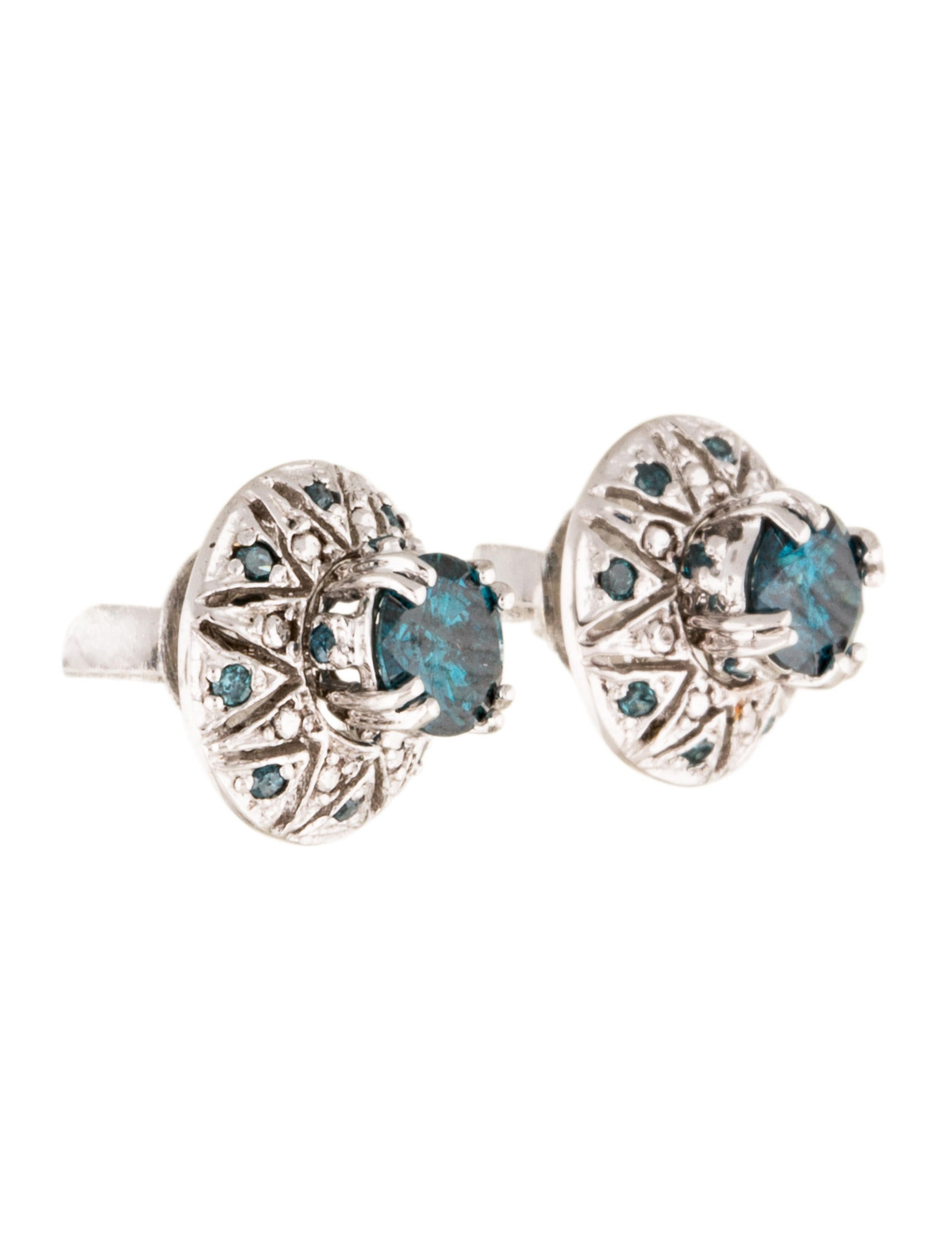 14k blue diamond stud earrings earrings earri35146. Black Bedroom Furniture Sets. Home Design Ideas