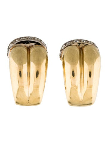Two-Tone 14K Diamond Earclips None