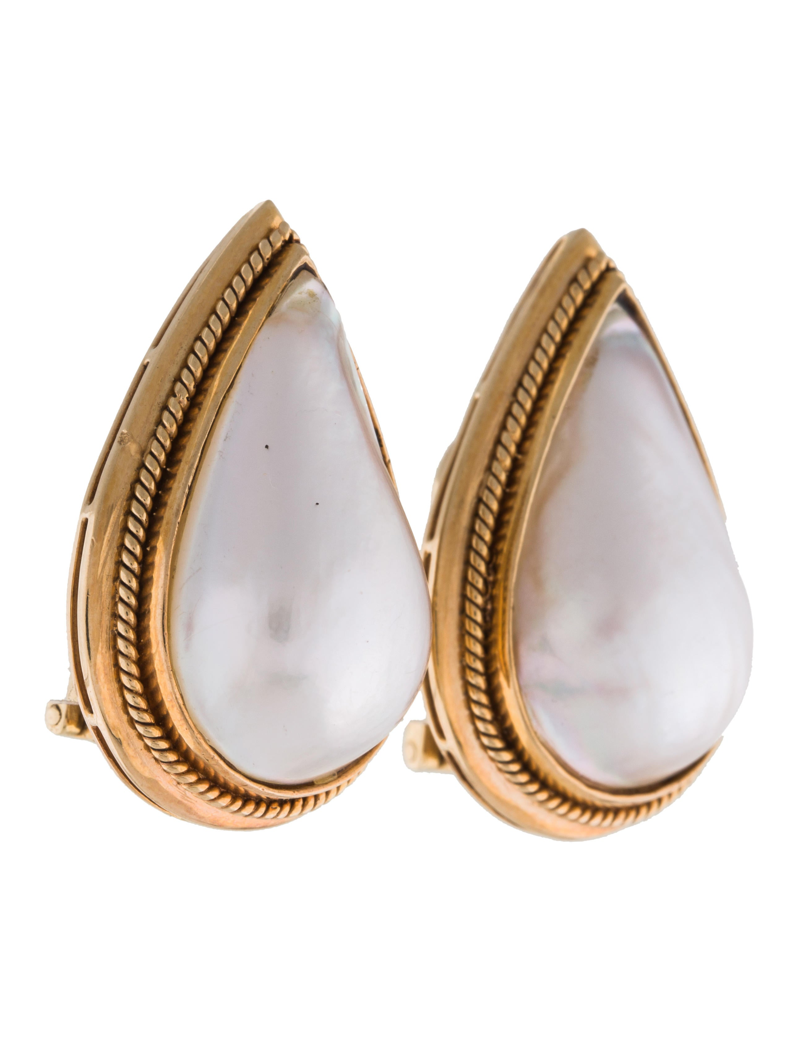 18k mab pearl teardrop clip on earrings earrings. Black Bedroom Furniture Sets. Home Design Ideas