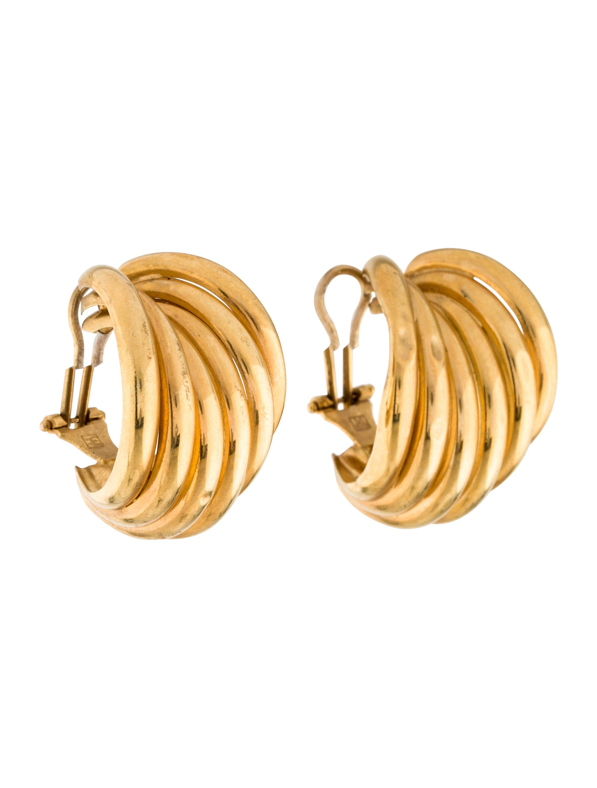 14k stacked hoop clip on earrings earrings earri37487
