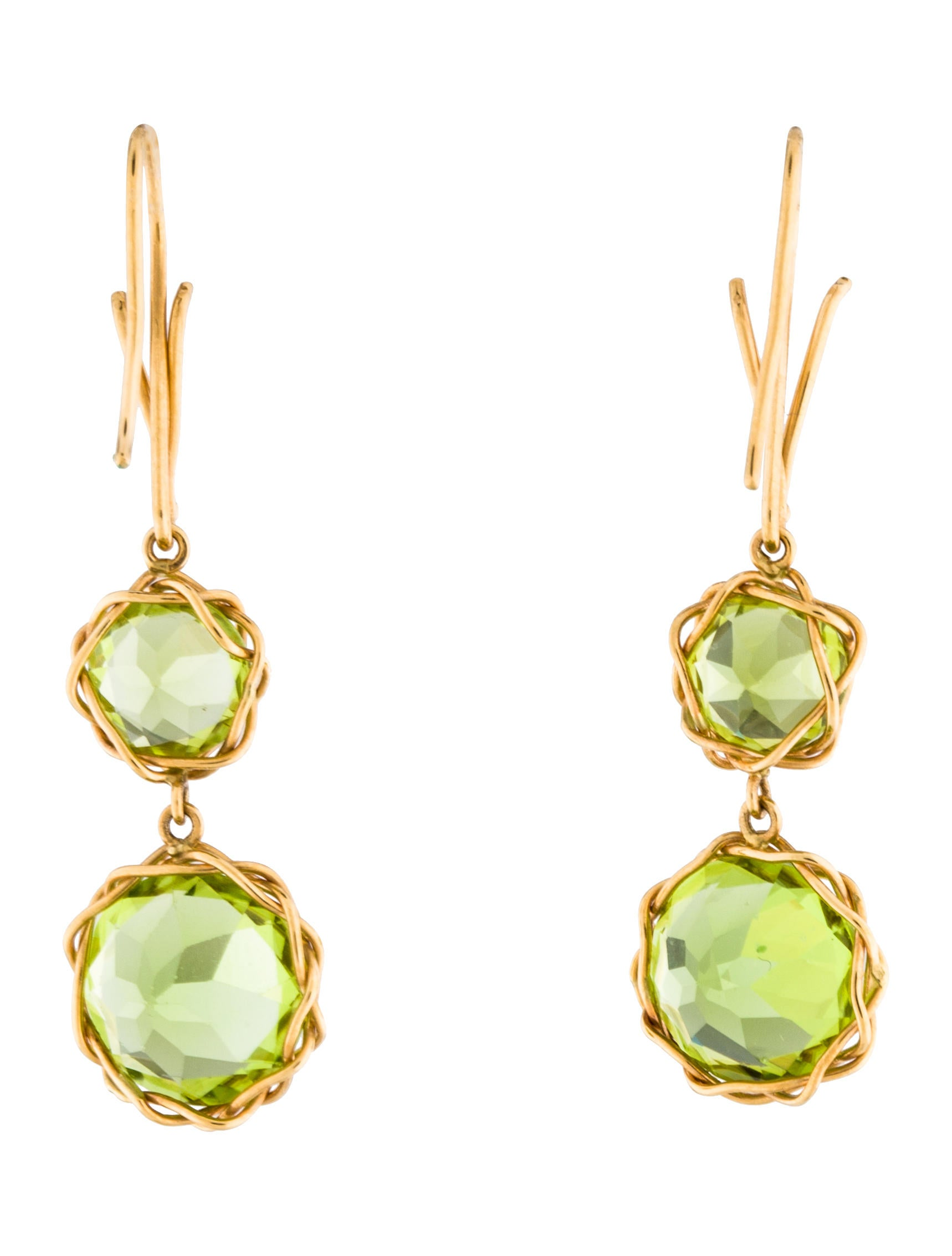18K Peridot Drop Earrings - Earrings - 142.1KB