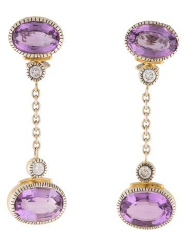 Diamond & Amethyst Drop Earrings None