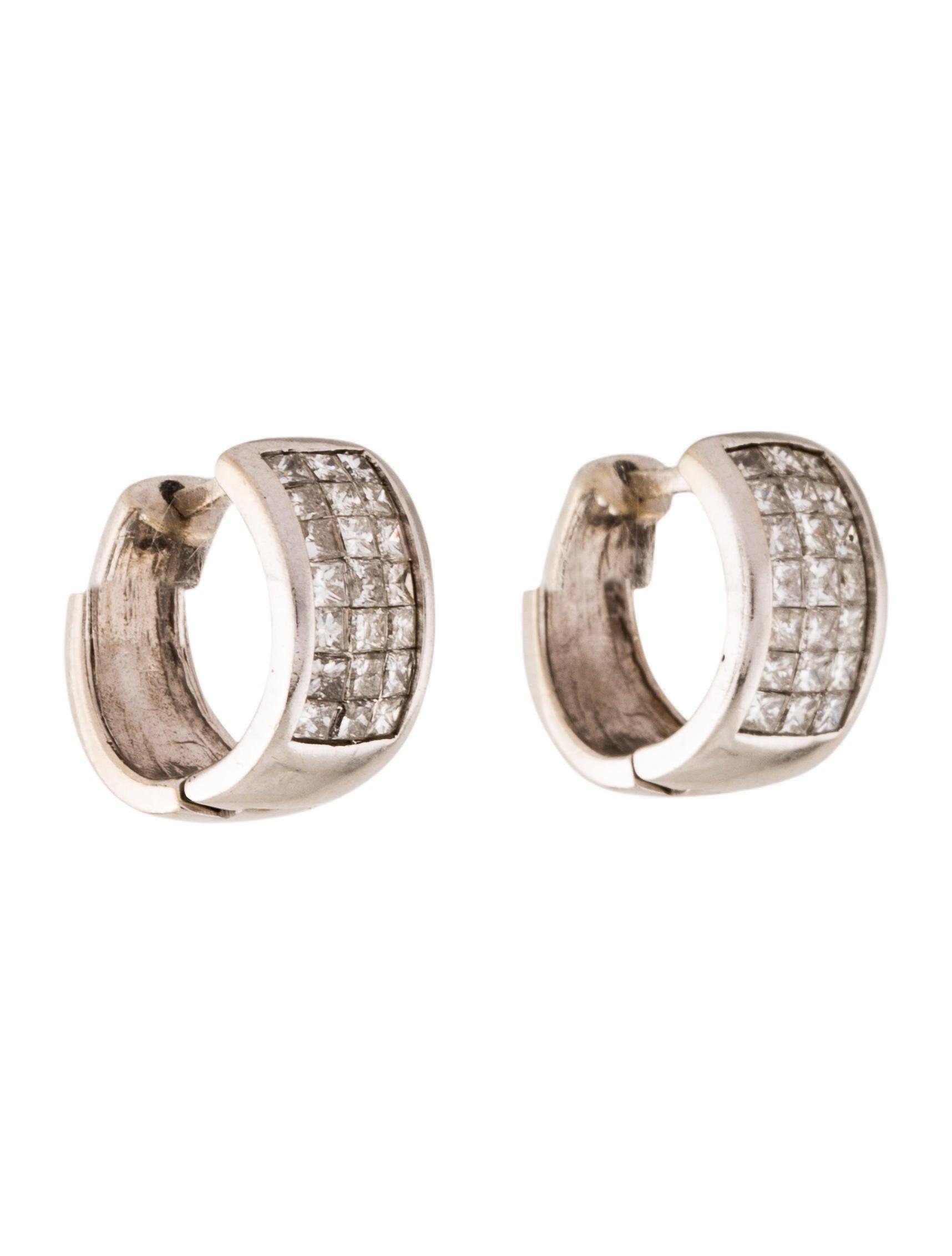 14k diamond huggies earrings earri38141 the realreal. Black Bedroom Furniture Sets. Home Design Ideas