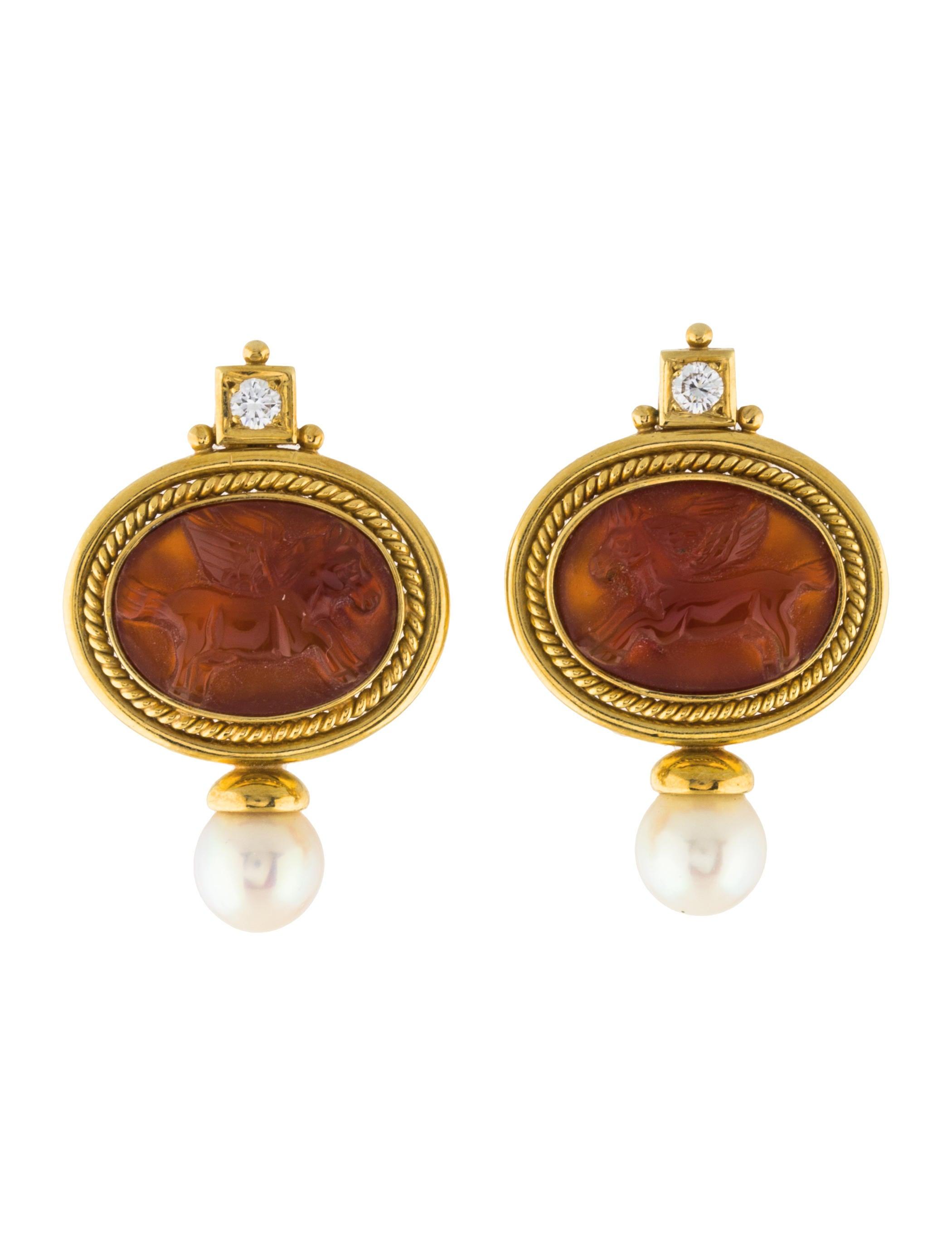18k pearl diamond carnelian clip on earrings earrings. Black Bedroom Furniture Sets. Home Design Ideas