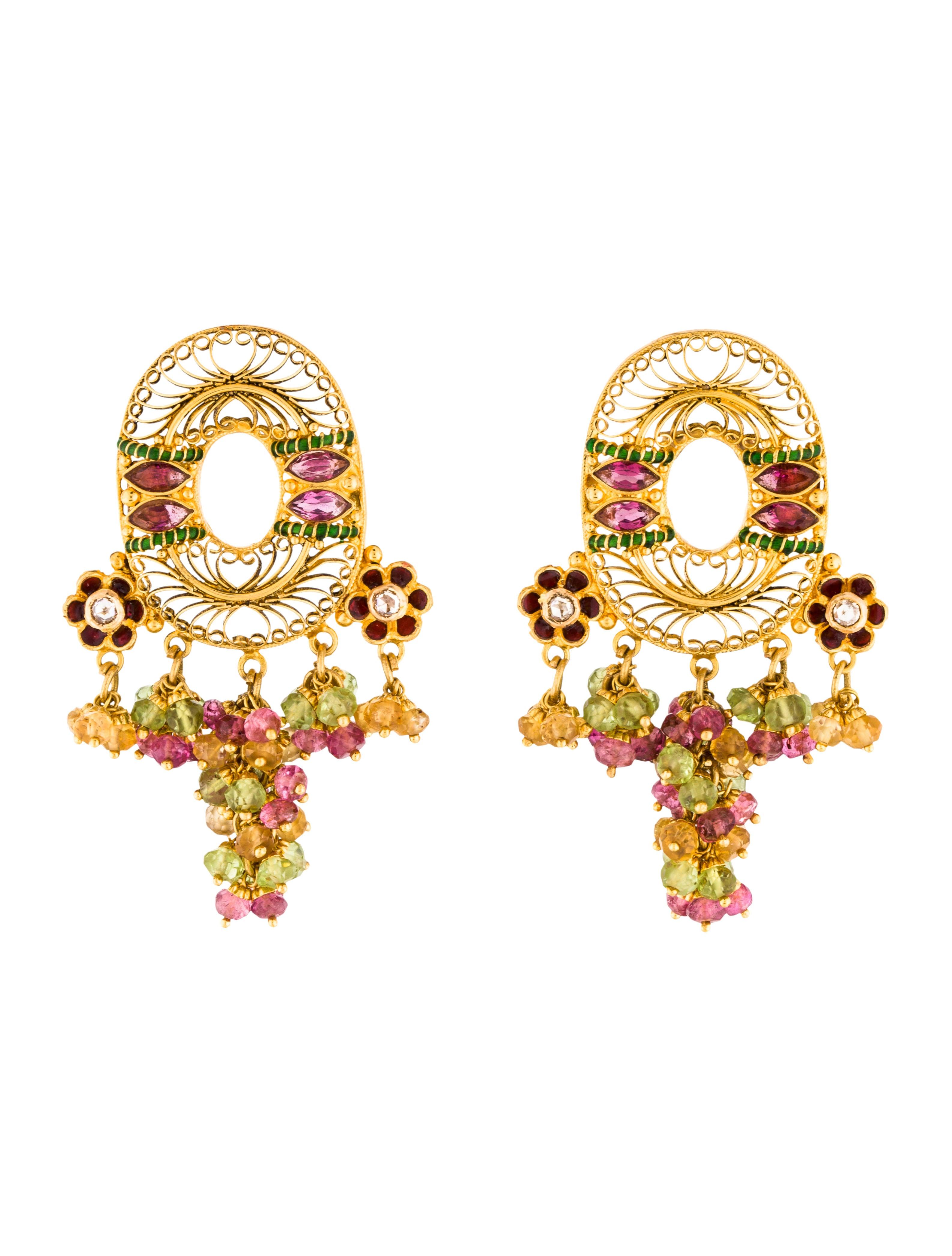 22K Diamond & Multistone Drop Earrings Earrings EARRI