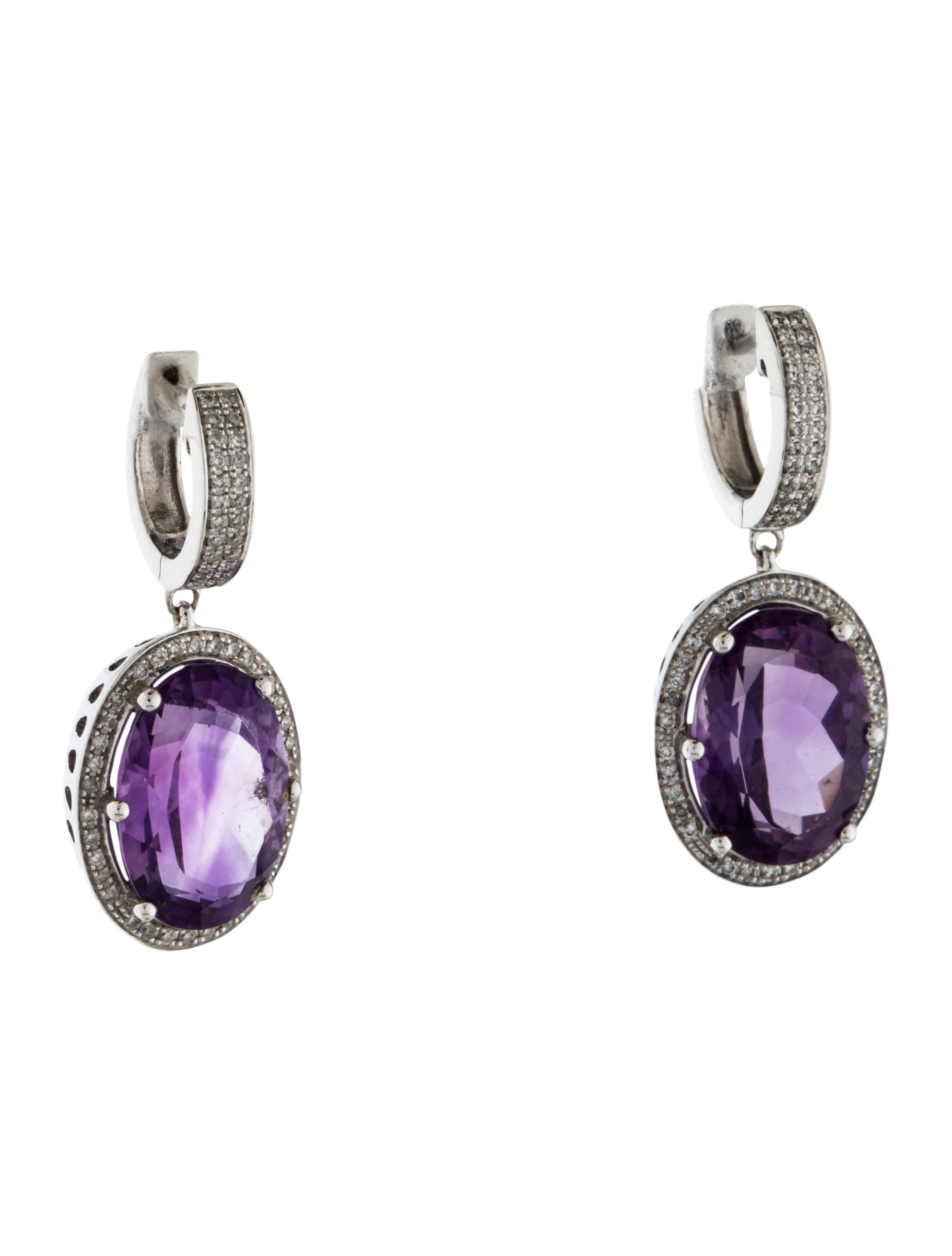 14k Amethyst Amp Diamond Drop Earrings Earrings
