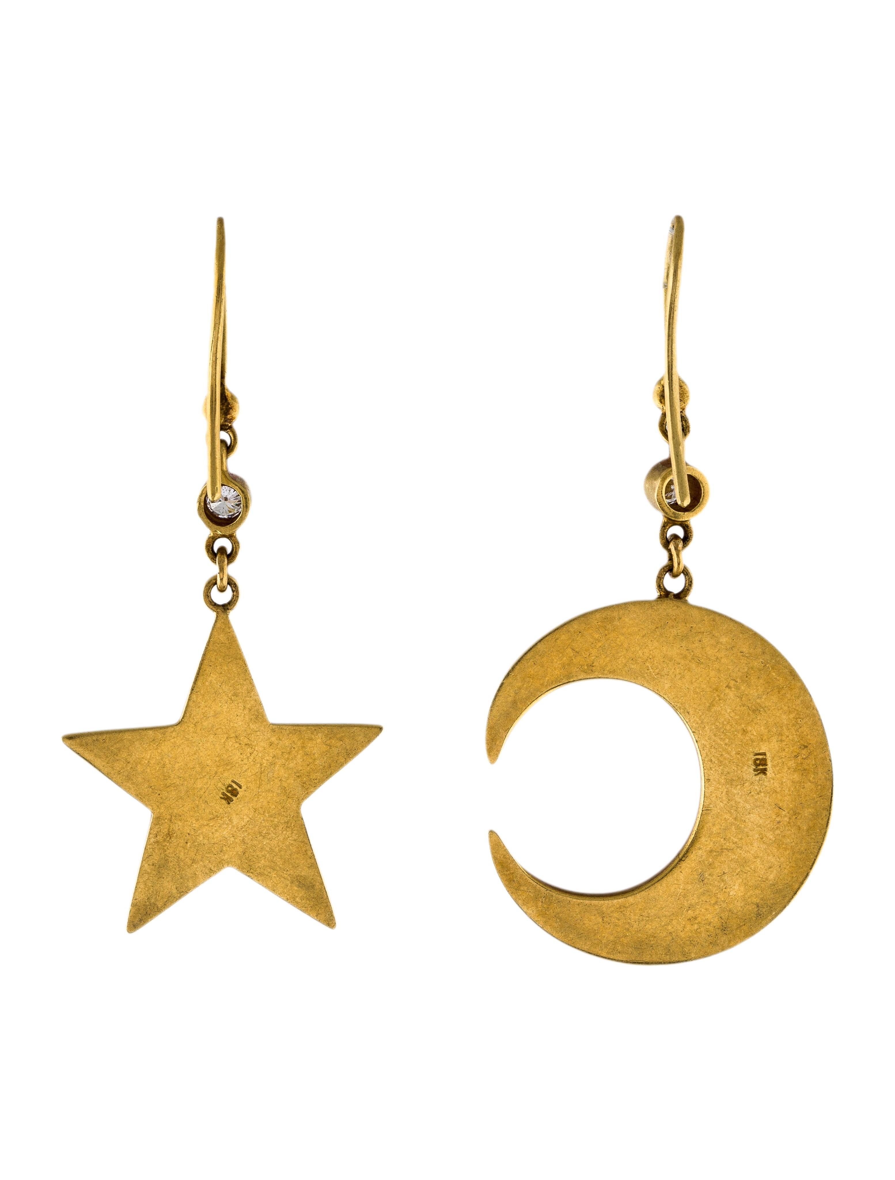 18k diamond moon star drop earrings earrings for Star hallmark on jewelry