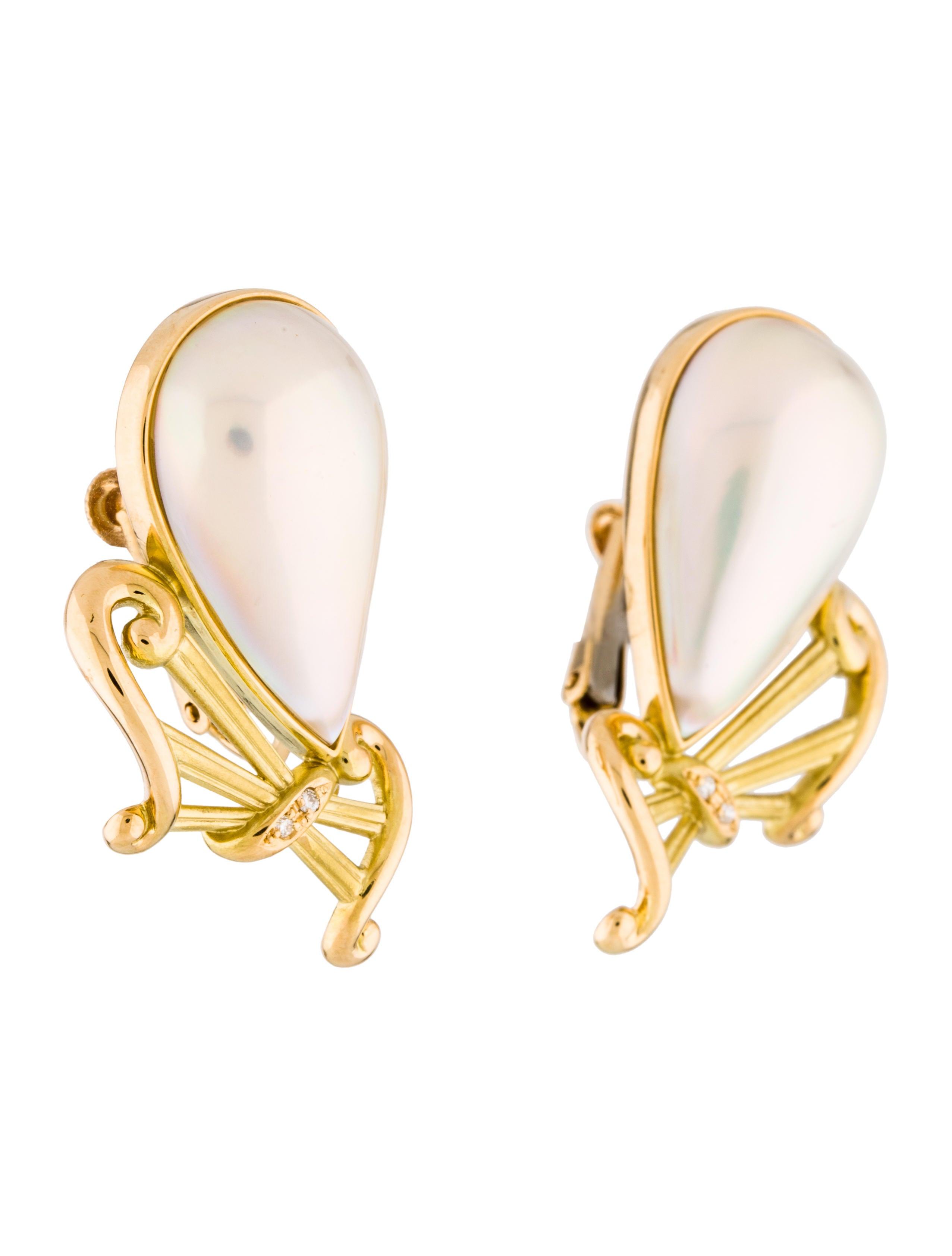 18k mab pearl diamond clip on earrings earrings. Black Bedroom Furniture Sets. Home Design Ideas