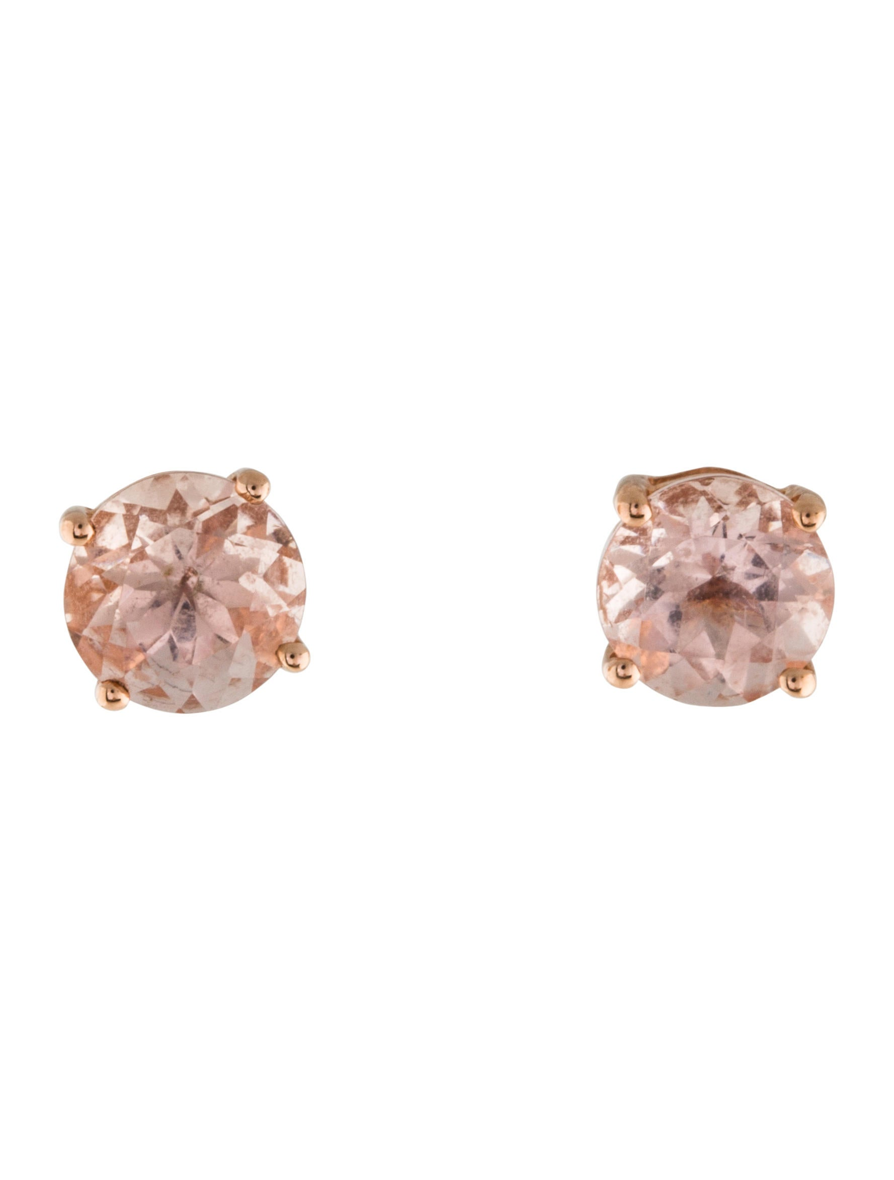 diamond p stud earrings morganite htm gold rose