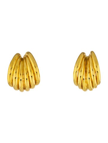 18K Ribbed Clip-On Earrings None