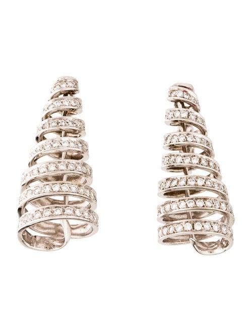 18K Diamond Spiral Earrings white