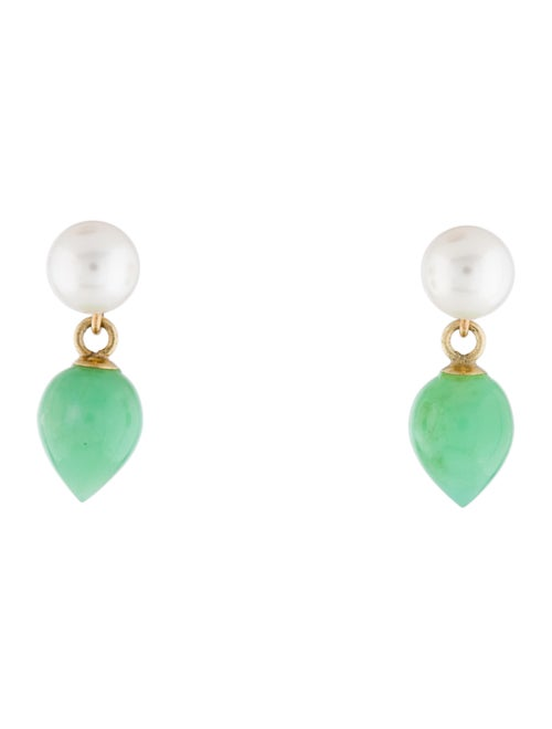14 K Pearl & Chrysoprase Dangle Earrings by Earrings