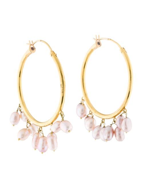 18K Pearl Hoop Earrings yellow