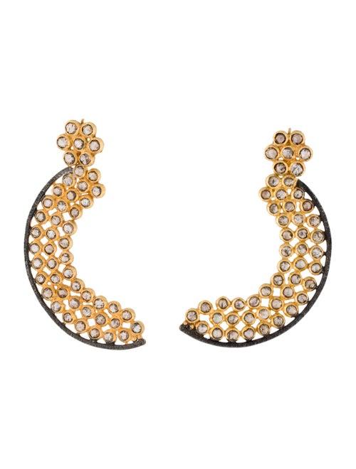 18K 1.28ctw Diamond Moon Earrings yellow