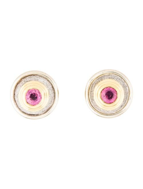 Pink Sapphire Stud Earrings yellow