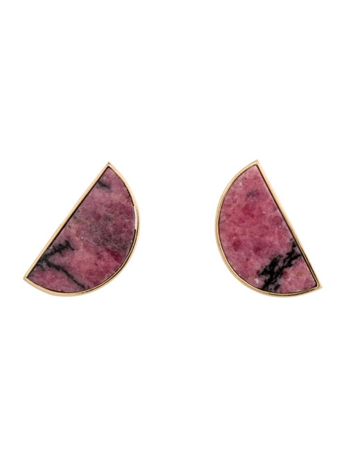 14K Rhodonite Clip-On Earrings yellow