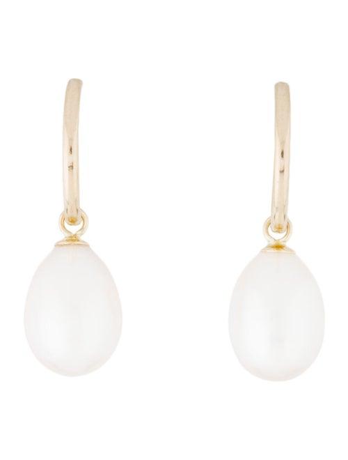 14K Pearl Drop Earrings yellow