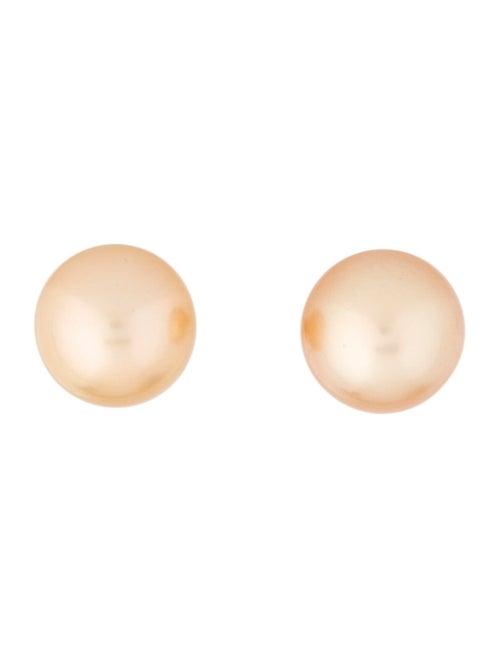 18K Pearl Stud Earrings yellow
