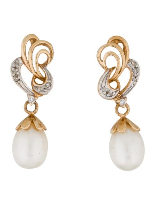 14K Pearl & Diamond Drop Earrings yellow