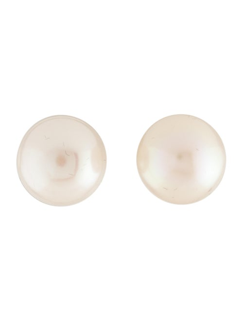 14K Pearl Stud Earrings yellow