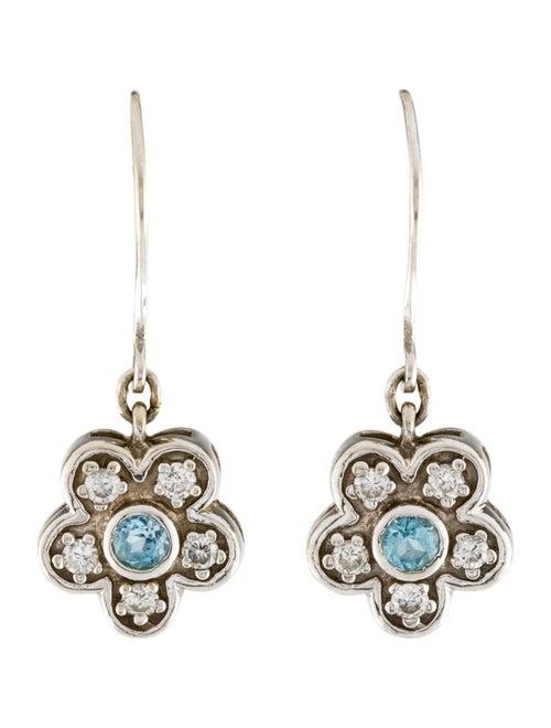 14K Topaz & Diamond Drop Earrings white