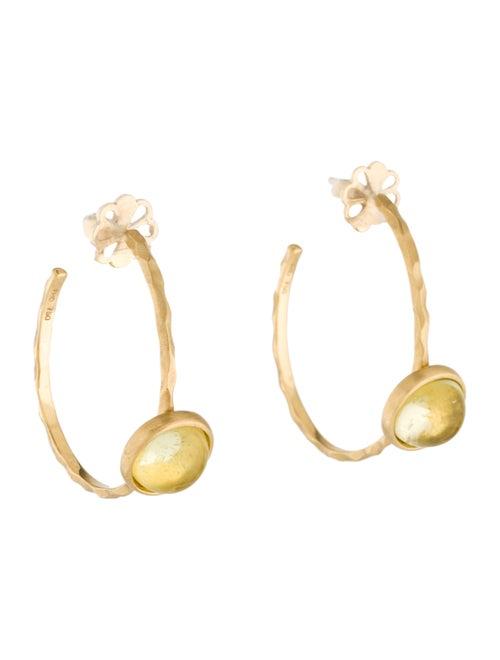 18K Yellow Quartz Hoop Earrings yellow
