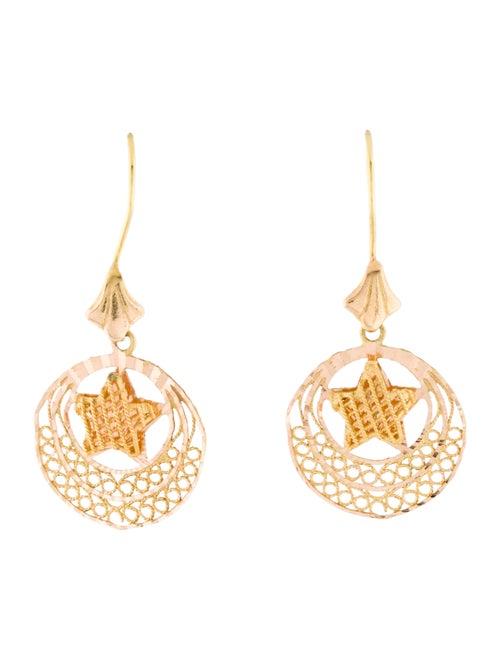 14K Star Drop Earrings yellow