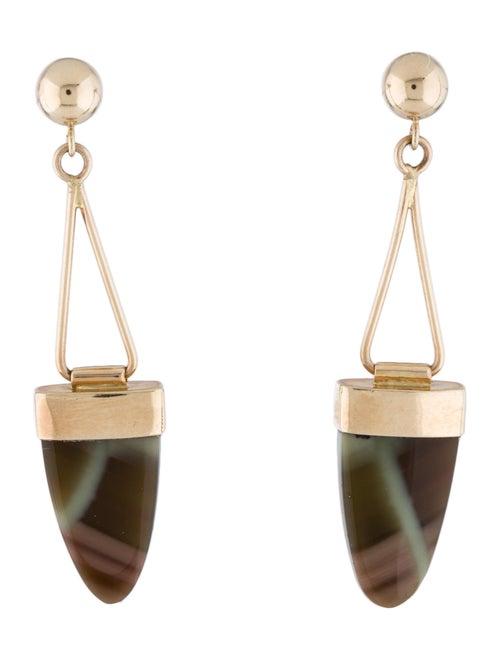 14K Agate Drop Earrings yellow