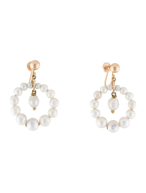 14K Pearl Hoop Earrings yellow