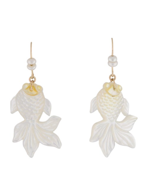 14K Pearl & Mother of Pearl Drop Earrings white